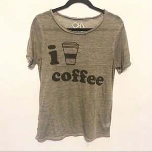 Chaser | I Love Coffee Burnout Distressed Tee Sz M
